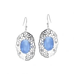 Fashion Blue Glass Drop Earrings For Women Platinum Plated Czech Rhinestone