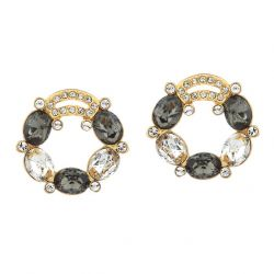 14K Gold Plated  Black White Austria Crystal & Rhinestone Stud Earrings