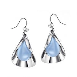 Blue Glass Platinum Plated Fashion Dangle Drop Earrings