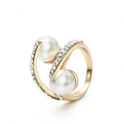 Rhinestone Pearl Rings Wedding Gift