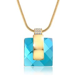 Blue Crystal Rhinestone Square Necklace & Pendant Chain Christmas Gift