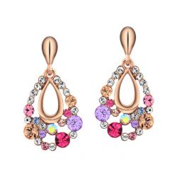Austrian Rhinestone Multi Colorful Dangle Earrings