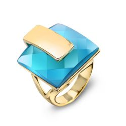 Blue Crystal Rhinestone Square Fashion Ring Free Shipping A Gift