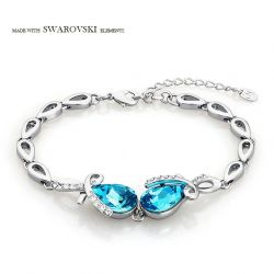 MADE WITH SWAROVSKI ELEMENTS Crystal & Rhinestone Bracelet Ocean Blue Water Drop Style