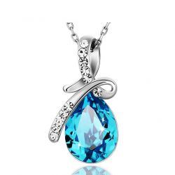 Austria Crystal & Rhinestone Long Dangle Pendant Necklace  Water Drop Style
