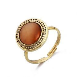 Opal Oil Antique Gold Plated Adjustable Finger Ring Vintage