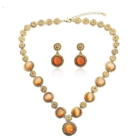 Austria Rhinestone & Opal Jewelry Set Oil Antique Gold Plated Necklace & Earrings