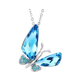 Austria Crystal & Auden Rhinestone Pendant Necklace Butterfly Style Platinum Plated