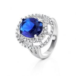 Blue Zircon Rhinestone Wedding Rings for Women