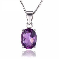 Oval 1.7ct Natural Purple Amethyst Birthstone Solitaire Pendant Solid 925 Sterling Silver
