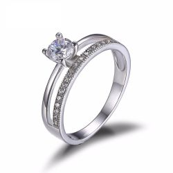 S925 Silver 0.6ct Cubic Zirconia Anniversary Wedding Band Engagement Ring