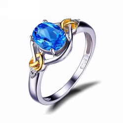 1.5ct Natural Blue Topaz Gemstone S925 Sterling Silver 18K Yellow Gold Ring Diamond