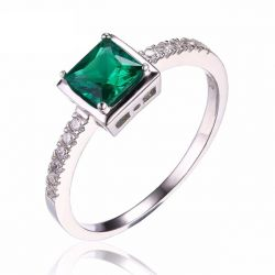 0.5ct Created Green Nano Russian Emerald Solitaire Ring 925 Sterling Silver Rings