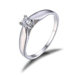 0.2ct Cubic Zirconia Engagement Solitaire Ring Genuine 925 Sterling Silver Rhodium Plated
