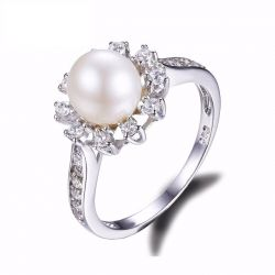 Snowflake 7mm Freshwater Cultured Pearl Halo Engagement Ring 925 Sterling Silver