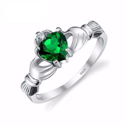 Nano Russia Emerald Irish Claddagh Ring Solid 925 Sterling Silver