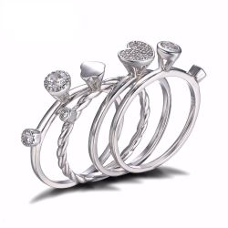 Wedding Band 4 Ring Sets Genuine 925 Sterling Silver Jewelry