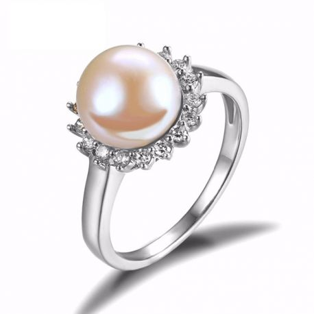 5.5ct Natural Freshwater Pearl Ring 925 Sterling Silver