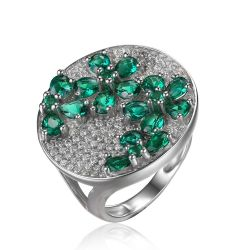 Green Nano Russian Emerald Ring Cocktail Genuine Pure Solid 925 Sterling Silver