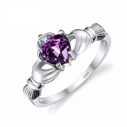 Natural Amethyst Irish Claddagh Ring Solid 925 Sterling Silver