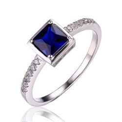 Square 0.9ct Created Blue Sapphire Solitaire Ring 925 Sterling Silver