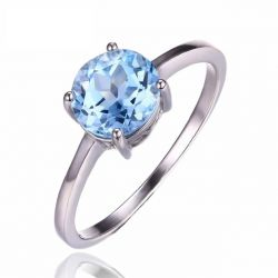 Round 1.6ct Natural Sky Blue Topaz Birthstone Solitaire Ring Genuine 925 Sterling Silver