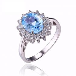 Princess Diana William Kate 2.3ct Natural Blue Topaz Engagement Halo Ring 925 Sterling Silver