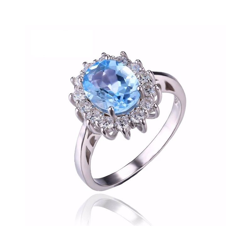 princess diana william kate 23ct natural blue topaz engagement halo ring 925 sterling silver - Princess Kate Wedding Ring