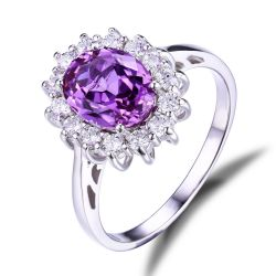 3.2ct Created Alexandrite Sapphire Ring 925 Sterling Silver Fine Jewelry