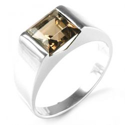 Men's Square 2.2ct Genuine Smoky Quartz Wedding Ring Genuine 925 Sterling Silver