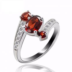 Genuine Garnet Ring Gemstone Solid 925 Sterling Silver