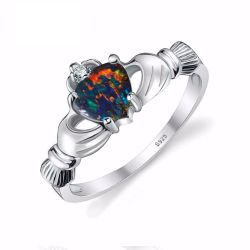 Black Fire Opal Multi-color Irish Claddagh Rainbow Ring Solid 925 Sterling Silver