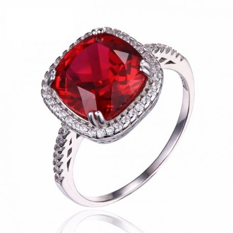 6ct Gemstone Pigeon Blood Ruby Wedding Ring Solid Pure 925 Sterling Silver