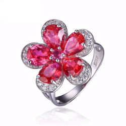 Flower 5ct Created Red Ruby Cocktail Ring 925 Sterling Silver