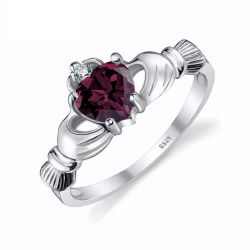 Alexandrite Sapphire Irish Claddagh Ring Solid 925 Sterling Silver