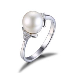 8mm*8mm Freshwater Cultured Pearl Engagement and Wedding Ring 925 Sterling Silver