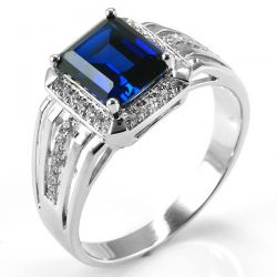 Luxury 4.6ct Created Blue Sapphire  Ring For Men Genuine 925 Sterling Sliver