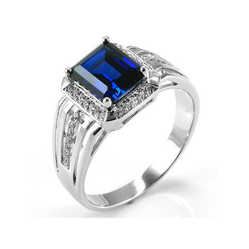 Blue Sapphire Ring For Men Price Luxury 4.6ct Created B...