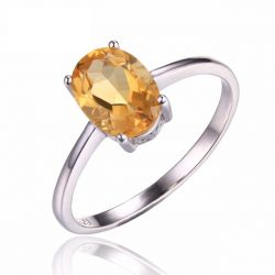 Oval 1.1ct Natural Citrine Birthstone Solitaire Ring Genuine 925 Sterling Silver