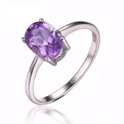 Oval 1.1ct Natural Purple Amethyst Birthstone Solitaire Ring Solid 925 Sterling Silver