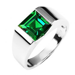 2.34ct Russian Nano Emerald Wedding  Sterling Silver Ring  For Men's