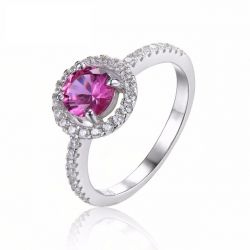 Round 1.2ct Created Pink Sapphire 925 Sterling Silver Ring