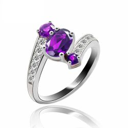 925 Sterling Silver 0.9ct Natural Amethyst 3 Stone  Ring Fine Jewelry