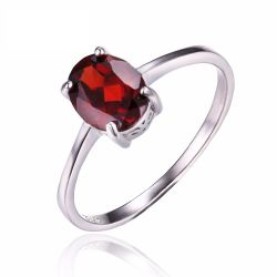 1.6ct Genuine Red Garnet Solitaire Rings For Women Oval Cut Solid 925 Sterling Silver
