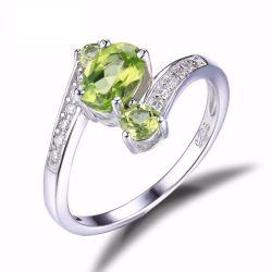 3 Stones Natural Peridot Ring Gemstone Solid 925 Sterling Silver