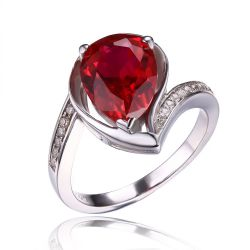 925 Sterling Silver Water Drop 4.9ct Created Red Ruby Ring