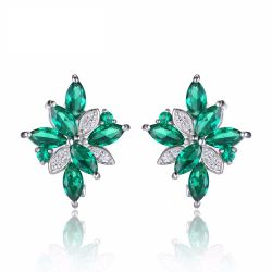 Flower Shape 2.5ct Created Green Nano Russian Emerald Clip On Earrings 925 Sterling Silver