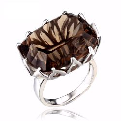 Huge Unique Concave 20ct Genuine Natural Smoky Quartz Ring Solid 925 Sterling Silver