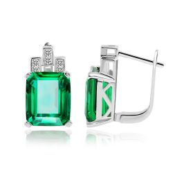 Luxury 7.6ct Created Green Nano Russian Emerald 925 Sterling Silver Clip On Earrings