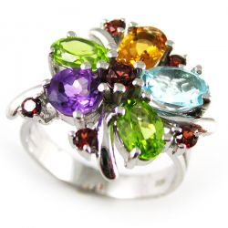 2.5ct Natural Amethyst Garnet Peridot Topaz Ring Pure Solid Genuine 925 Sterling Silver